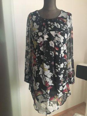 Chiffon Kleid Tunika Gr 34 36 XS S Schmetterling Muster