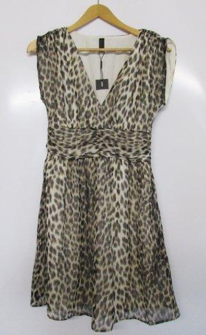 Chiffon Kleid Vero Moda Größe S 36 Leoprint Muster Leo Braun Beige Schwarz Rockabilly Sommerkleid Minikleid Animal V-Neck