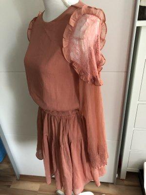 Vila Chiffon jurk abrikoos-roze