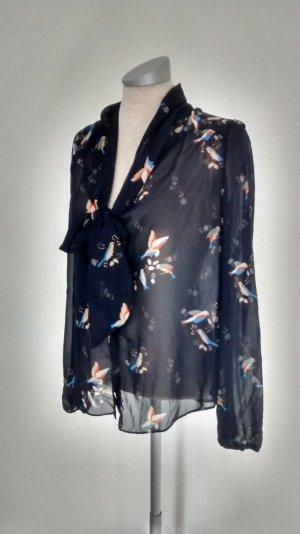 Chiffon Langarm Bluse blau Vögel Schluppenbluse Gr. UK 14 EUR 42 New Look