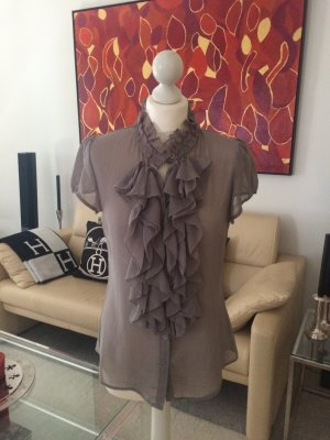 Chiffon Rüschenbluse in taupe