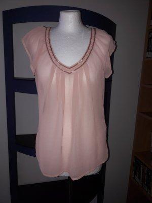Chiffon spitze Bluse Top T-Shirt altrosa Perlen NEU Only Gr 40 L 38 transparent