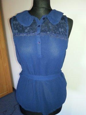 Chiffon, spitze Bluse Top T-Shirt von Vero Moda, Gr. L 38 40 marine transparent