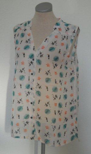 Chiffon Top Bluse ärmellos + Vögel Affen neu Gr. 40