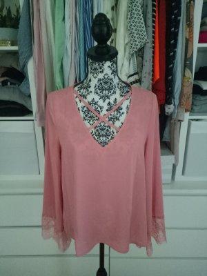 Chiffon Top Bluse Lace Spitze Blogger Rosa Lachs 38 40 M L