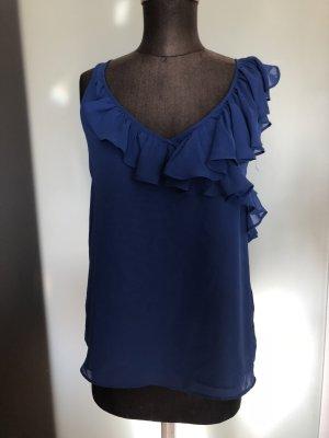 Chiffon Top Bluse mit Rüschen Gr 38 S/M Royalblau