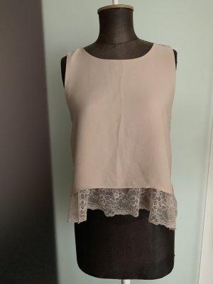 Chiffon Top Shirt Bluse mit Spitze Gr 36 S von Zara in Puder Rose