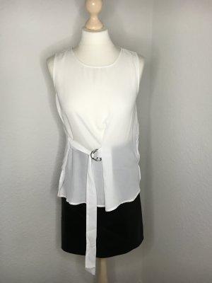 Chiffon top Shirt Vero Moda weiß s 36 38 fließend Silber