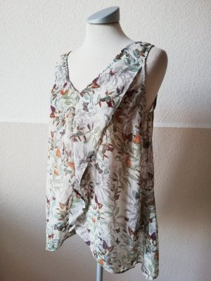 Chiffon Top Tunika ärmellos Oberteil bunt Schmetterlinge Monsoon Gr. UK 12 EUR 40 M L