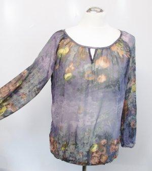 Chiffon Tunika Bexleys Gr. M 40 Lila Grau Rosa Langarm Bluse Transparent Blumen Romantisch