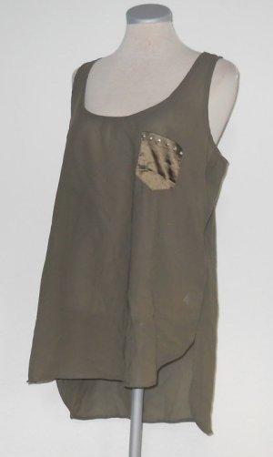 Chiffon Tunika Tanktop Top khaki grün Gr. 40 M L Satin neu