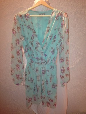 Chiffon Tunika von LOVE in mint mit floral print