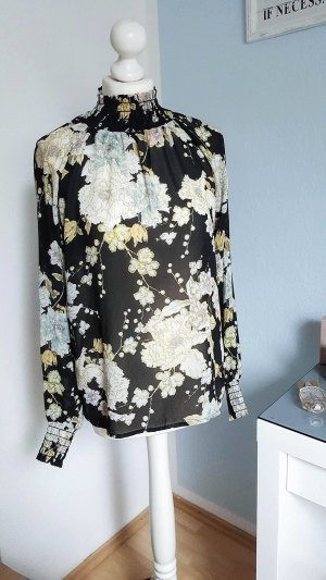 Chiffonbluse, Bluse mit Blumenmuster, Gr. S