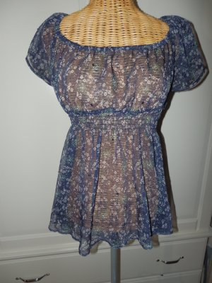 Chiffonbluse  Empirestil  blau in Gr. 36