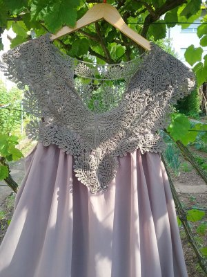 Chiffonbluse   long  mit grober Spitze  taupe  Gr. 40