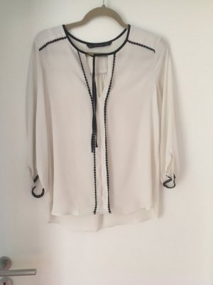 Zara Basic Tie-neck Blouse natural white