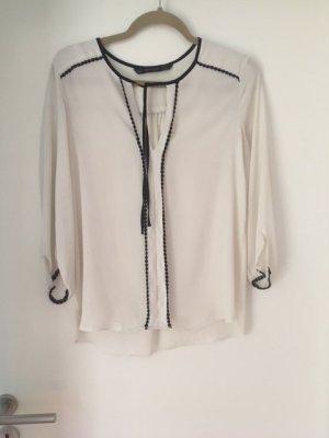 Zara Basic Blouse avec noeuds blanc cassé