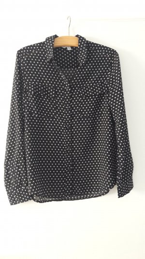 American Eagle Outfitters Long Sleeve Blouse black-white polyester