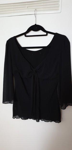 H&M Blusa collo a cravatta nero