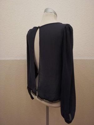 Chiffonbluse Spitze Bluse langarm dunkelblau schwarz River Island Gr. UK 8 XS EUR 34 neu rückenfrei