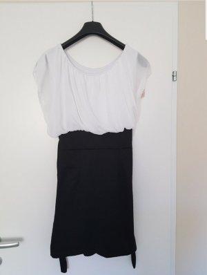 Robe chiffon blanc-noir