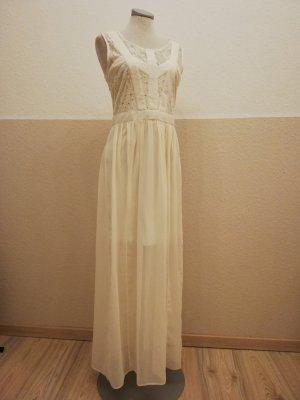 Chiffonkleid Chiffon Kleid Miss Selfridge Gr. UK 12 EUR 40 D 38 S M Creme Spitze Abendkleid lang