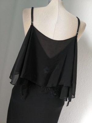 Chiffonkleid Gr. M 38 neu schwarz Fishtail Chiffon Kleid lang Abendkleid gothic