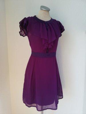 Chiffonkleid Gr. UK 10 EUR 38 D 36 lila Kleid knielang gerüscht Lolita kawaii kurzarm Sommerkleid