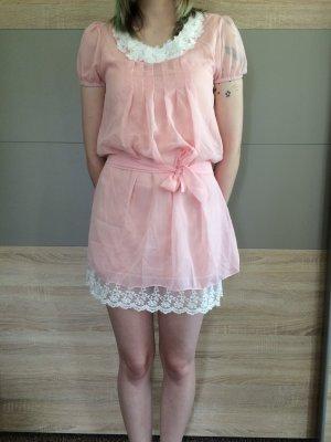 Abito baby-doll rosa pallido-bianco