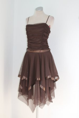 Vestido de chifón coñac-marrón
