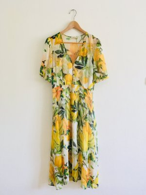 Chiffonkleid von H&M mit Blumen und Zitronen Musterdruck Zitronenkleid 34/36/38 gelb weiß grün