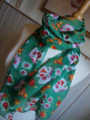 Chiffonschal in Grün mit Blumenmotiv