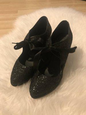 Chillany High Heels schwarz Glitzer 39