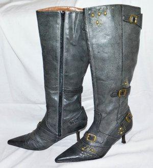 Laarzen met hak zwart Leer