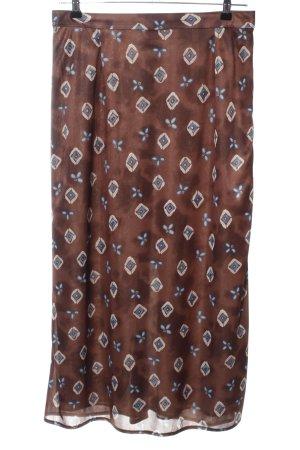Chillytime Falda larga marrón-blanco puro estampado con diseño abstracto