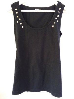 Chillytime Tanktop Top Shirt schwarz mit Nieten gold Gr. 40/42 L XL gut erhalten