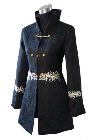Chinesischer Mantel - schwarz mit schönen goldenen Verzierungen Gr. 36