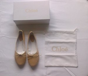 Chloé Patent Leather Ballerinas nude leather
