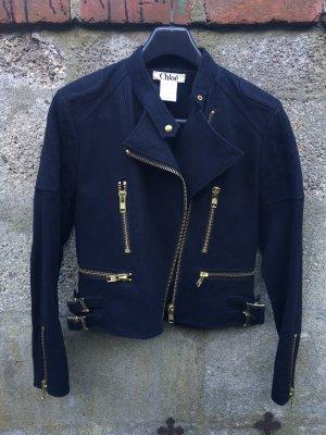 Chloé Chaqueta de motociclista negro-color oro
