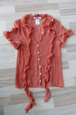 CHLOE Bluse aus Seide, in apricot, aus einem Crinkle-Stoff mit gerüschten Bändern um den Hals, Gr. franz. 42