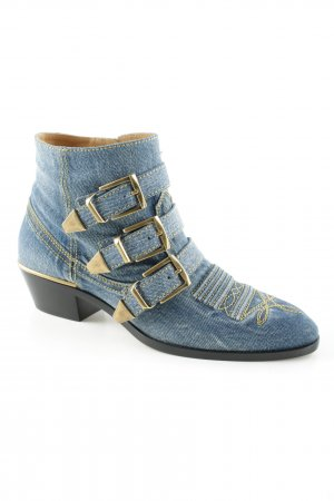 "Chloé Stivaletto ""Kris Short Boot Washed Blue"""