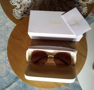 Chloé Angular Shaped Sunglasses gold-colored-light brown metal
