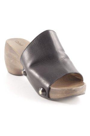 Chloé Clog Sandalen schwarz-graubraun Casual-Look