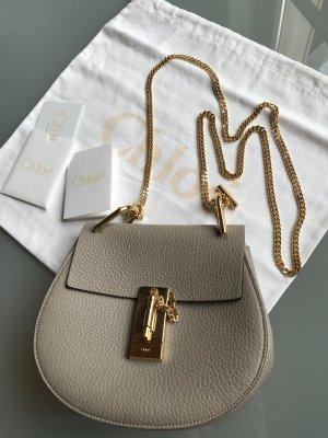Chloe Drew Mini Schultertasche crossbody Motty Grey taupe graubraun Leder gold
