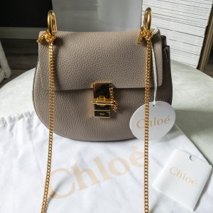 "CHLOÉ ""Drew"" Shoulder Bag Small Grain Skin in Motty Grey Grau/Taupe"