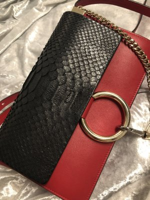 Chloé Handbag dark red-dark blue leather