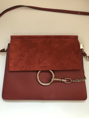 """Chloé Faye Tote Bag Suede Flap """"Terracotta Red"""""""