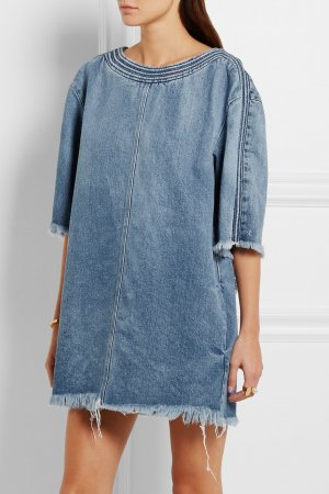 Chloe Jeanskleid Blau Jeans Kleid 34 XS Frayed Denim Shift Dress Light Blue Top
