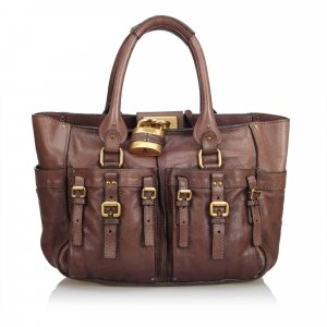 Chloe Leather Double Pocket Paddington Tote Bag