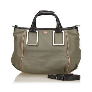 Chloé Satchel green leather